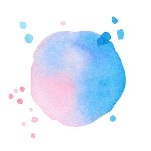 Vector watercolor texture. Pink and blue watercolor round shape. Splash stain isolated on white background